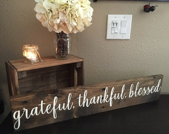"Pallet Wood Sign Grateful Thankful Blessed Sign - 5.5""x30""- Home Family Love Rustic Decor Farmhouse Style Fixer Upper Wooden (Item - GTB100)"