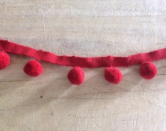 Red Pom Pom Trim 100% cotton