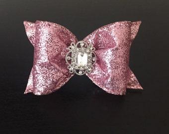Rose pink glitter dog bow
