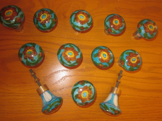 Lot 0f 12 Vintage style Pottery Knobs drawers cabinets pulls knobs handle door- Blue/Red/Yellow colored