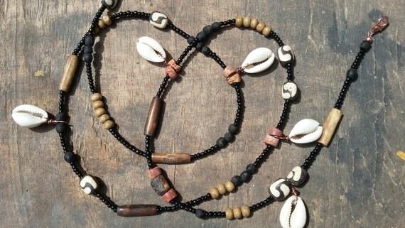 EARTH custom made waist beads, recycled glass beads, batik bone beads, bauxite beads, Cowrie shells, wooden beads, bone beads, Fair Trade