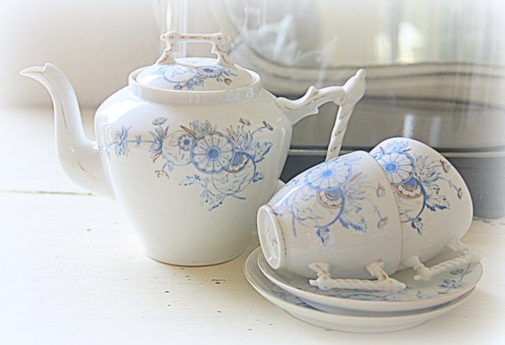 Antique Early Art Deco Fine Bone China Tea Pot and Cup and Saucers, Marked and Numbered, Handpainted, Tea Set