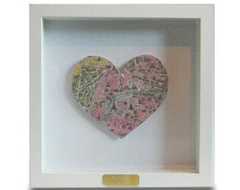 Framed Personalised Paris Heart Map