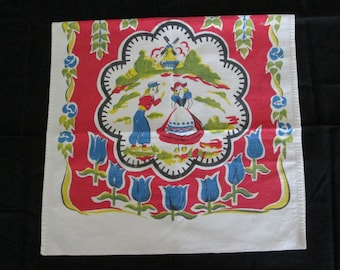Vintage Kitchen Dishcloth Dishtowel with Dutch Boy and Girl