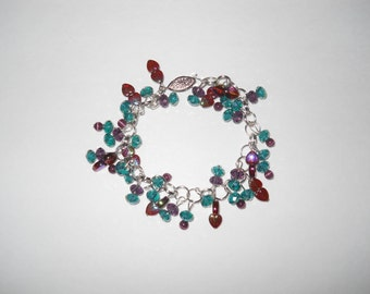 Silver Turquoise & Purple Glass Bead Bracelet One of a Kind!