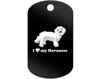 I Love My Havanese Engraved GI Tag Key Chain Dog Tag blanquito v2 - MDT-357