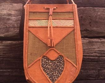 Tan Leather Hand Bag, Braided Shoulder Strap, Braided Detail, Wild Cat Print.
