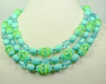 West German Lucite and Plastic Beaded Three-Strand Necklace