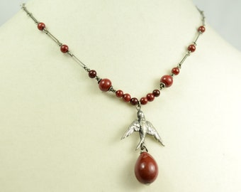 Art Deco Necklace with Glass Beads and Bird Pendant