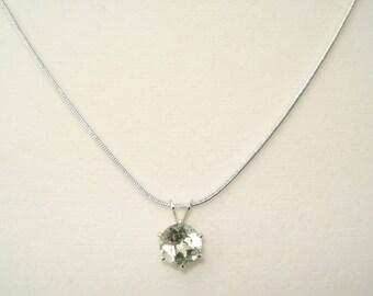 """8mm Round Prasiolite Pendant Necklace 20"""" (Green Amethyst)"""