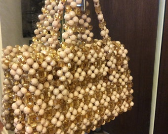 Vintage HAND MADE Tan & Gold Beaded Bag