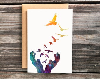 Unique Release Birds Art Greeting Card