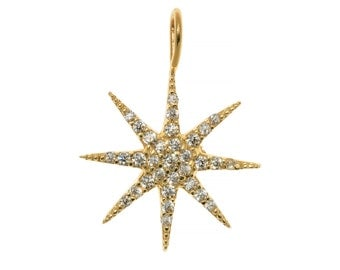 Mini Supernova Star Pendant 14ct Yellow Gold Pave