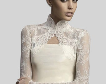 Bridal lace cover up - long sleeves lace jacket