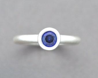 Sapphire Lollipop Ring, Sterling Silver, Gemstone Ring, Stacking Ring, Statement Ring, Sapphire Ring, September Birthstone Ring, Silver Ring