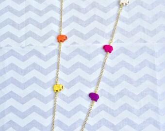 Rainbow elephant necklace, elephant necklace, statement necklace, bohemian necklace, beaded necklace, wire wrapped necklace, garland