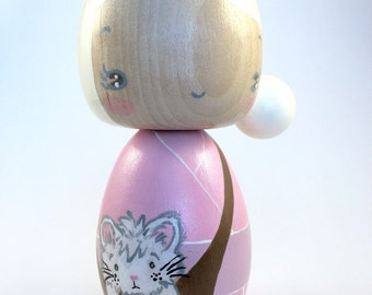 marked down** Pink kokeshi doll w/ cat, peg doll, wood doll