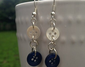 White and Royal Blue Button Earrings