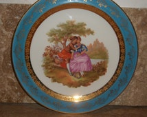Fragonard Plate, Tale of two lovers, Gold Gild, French Porcelain, Fine Bone China, French Vintage, Limoges, Stamped, Vintage Collectible.