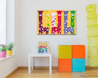 Print canvas. Giraffe Kids Playroom Wall Art Vivid Decoration Print Idea Gift Boy Girl Baby Animal Children Room Design Printable Cheeky lov