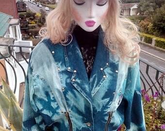 Vintage ladies   tie dyed denim jacket by Paulo Due, now reduced !!