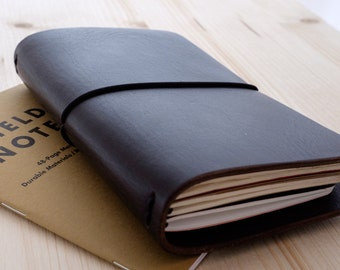 """Leather Traveller's Notebook Cover. Dark Brown Fauxdori. For three pocket size (3.5"""" x 5.5"""") Field Notes or Moleskine Cahier"""