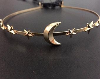 Vintage Moon & Stars Headband