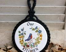 Vintage Cast Iron Trivet with Round Tile , Bluebird and Floral Mushroom Tile, Farmhouse Vintage Decor, Trivet with Handle