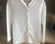 CLEARANCE Vintage White Scalloped Lace Cardigan Sweater by Helen Sue Made in Japan Acrylic Delicate Pointelle Knit 3/4 Sleeve Spring Layer