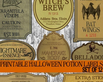 DIY Halloween Bottle Label Printables, Apothecary Labels, Halloween Potion Labels, Vintage Potion Bottle Labels, Witch Spell Decorations