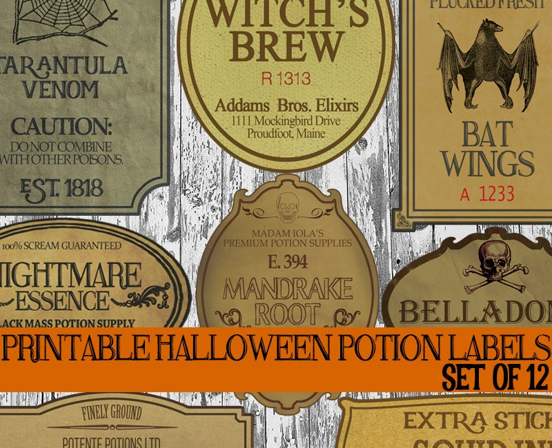 Diy Halloween Bottle Label Printables Apothecary Labels