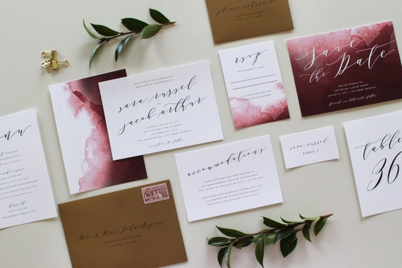 Cost Of Calligraphy For Wedding Invitations: Calligraphy Wedding Invitation Modern Wedding By TiedandTwo
