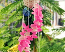 Pink and white Seashells Wind Chimes, Natural Seashells, Garden Decor