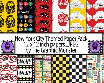 NYC Scrapbook Paper, Digital Paper NYC, New York Scrapbook Paper, NYC Digital Paper, Instant Download, New York City, City Paper, Background