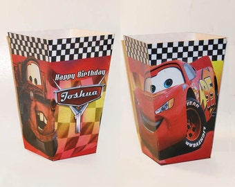 Disney Cars personalized Popcorn favor Boxes (Set of 10)