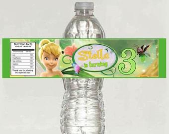 Tinkerbell Birthday Water Bottle Label - Printable