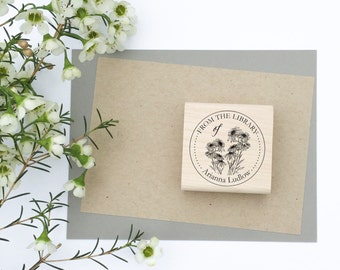 Bookplate Stamp - From The Library Of - sunflower book stamp - calligraphy bookplate - calligraphy stamp - custom stamp - teacher gift Z1144