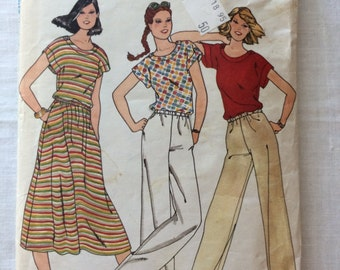 Vintage UNCUT Butterick 6144 Misses Size 16 Top, Skirt and Pants Pattern