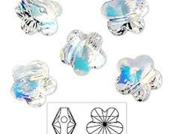12 Pieces 6mm Swarovski AB Faceted Flower Beads, Article No # 5744, Crystal Flower Beads, Swarovski Flower Beads