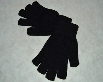 reverse acrylic mesh fingerless mittens