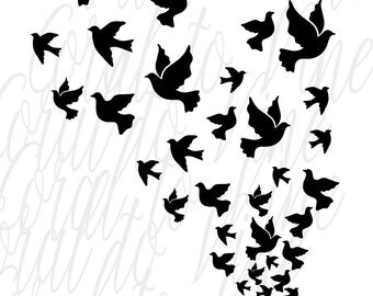 doves svg bird feather svg dove flock cut file feather bird svg dove cyclone svg flying birds svg bird flock