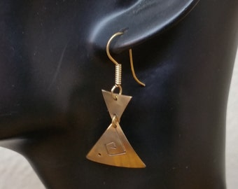 Old 925 Silver triangle earrings gold plated SO208