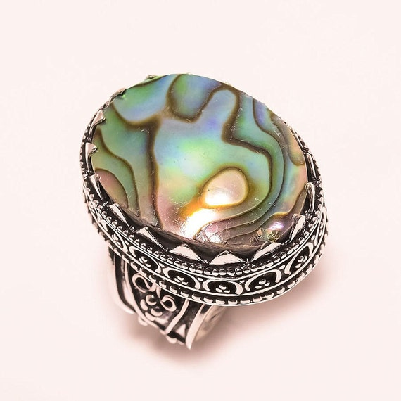 abalone shell ring gemstone ring abalone by enticesilverstore