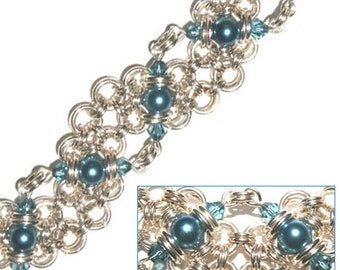 Japanese Wave Weave Chain Maille Bracelet Tutorial PDF