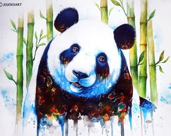 Blue Ashes - Signed Fine Art Giclee Print - Wall Art - Panda Nature Painting by Jonas Jödicke
