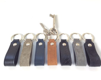 Leather keychain.Men's leather key fob. Leather key holder.Gift for dad/men. Leather key lanyard.Black/Brown/Gray/Blue/Khaki.Suede keychain