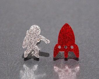 Sparkle Astronaut + Rocket Stud Earrings, Astronaut Earrings, Rocket Earrings, Space Earrings, Astronaut Studs, Space Jewelry, Rocket Studs