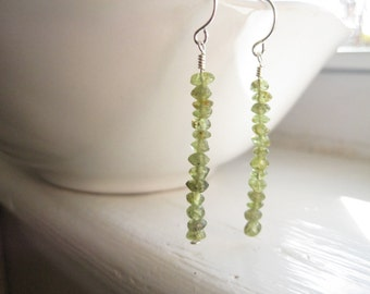 Stacked Gemstone Peridot Earrings/Beaded Peridot Earrings/Green and Silver Earrings/Peridot and Silver Earrings