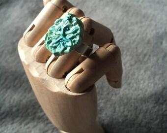 Polymer Clay Pagan Face Ring