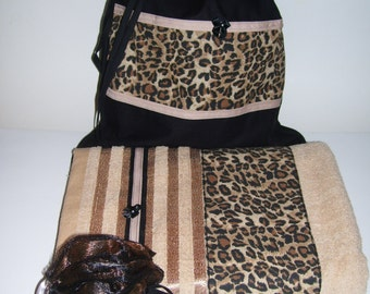 GIFT SET TOWELS   Leopard Design   Leopard Bathroom Decor   Leopard Set  Towels   Leopard
